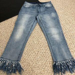 Bluefaith Cropped Fringed Hem Jeans